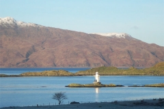 Winter View from of Port Appin Lighthouse from Upstairs Sitting Room